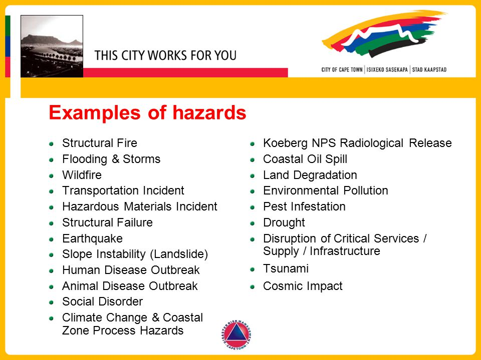 Examples of hazards Structural Fire Flooding & Storms Wildfire