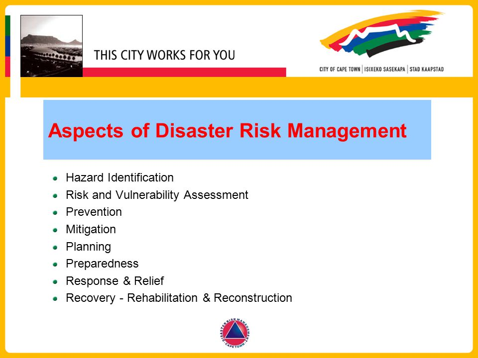 Aspects of Disaster Risk Management