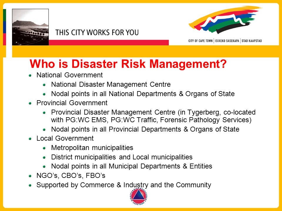 Who is Disaster Risk Management