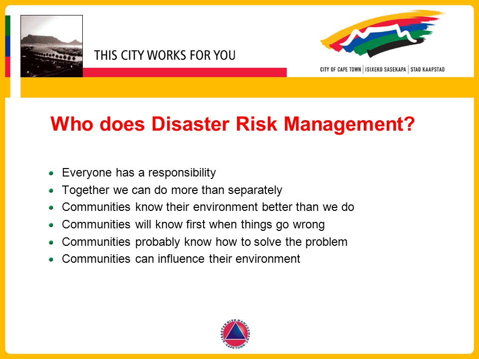 Who does Disaster Risk Management