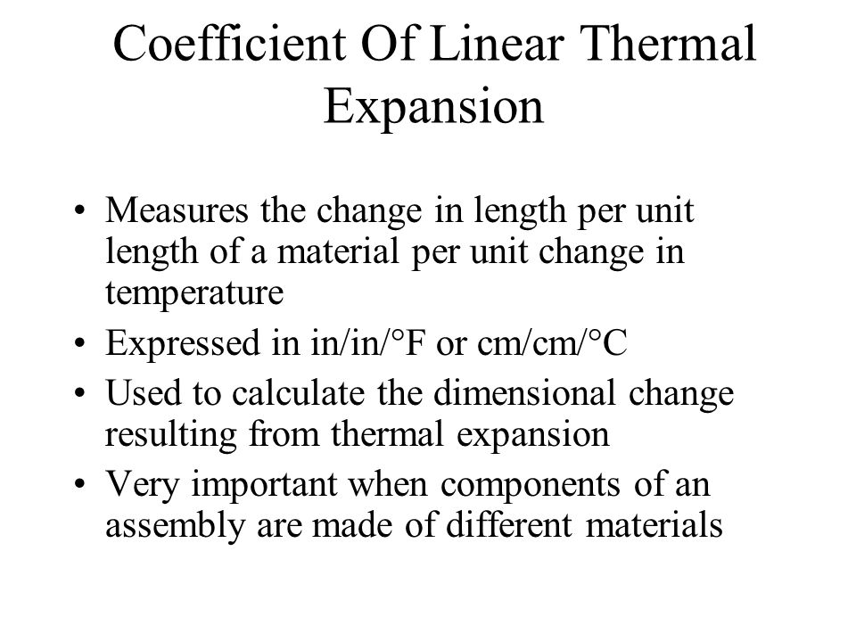 Coefficient Of Linear Thermal Expansion