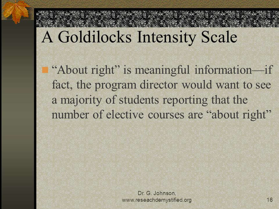 A Goldilocks Intensity Scale
