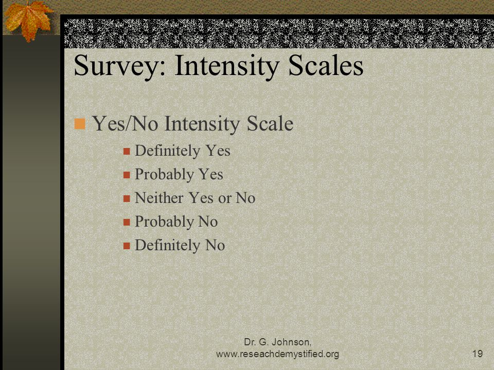 Survey: Intensity Scales