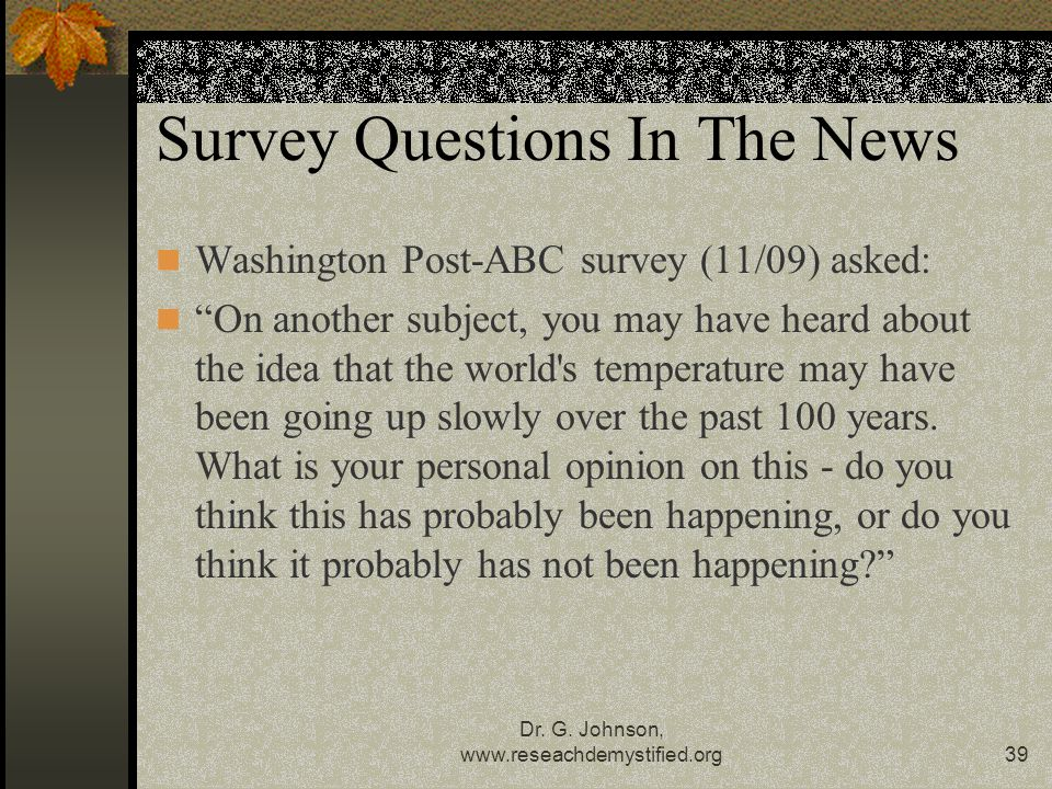 Survey Questions In The News
