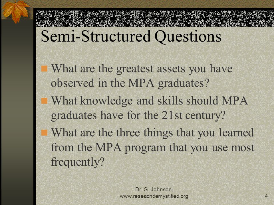 Semi-Structured Questions