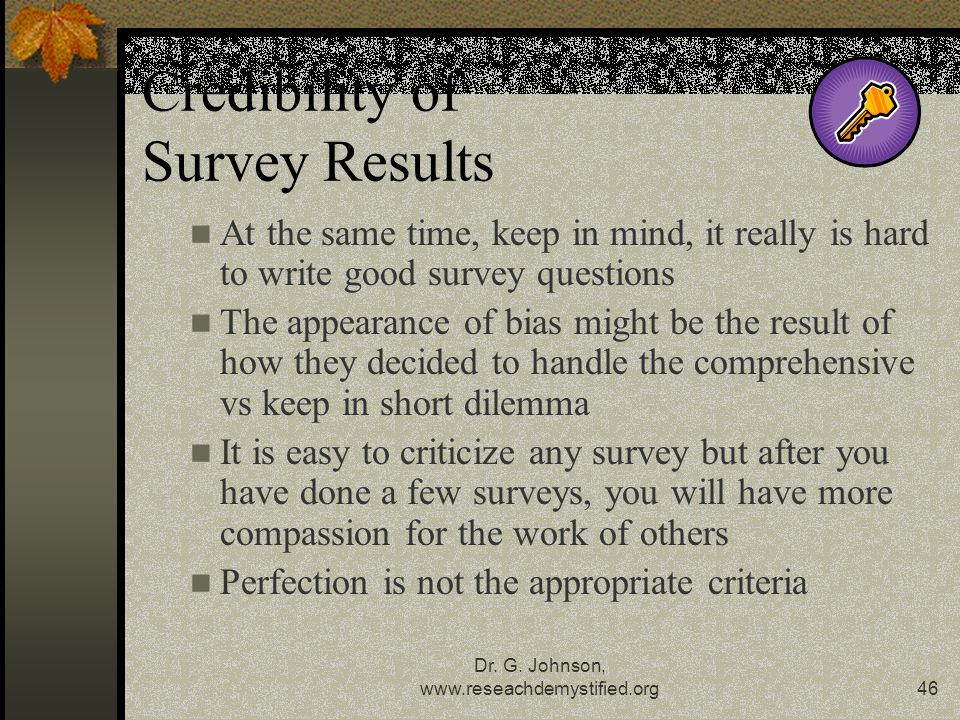 Credibility of Survey Results
