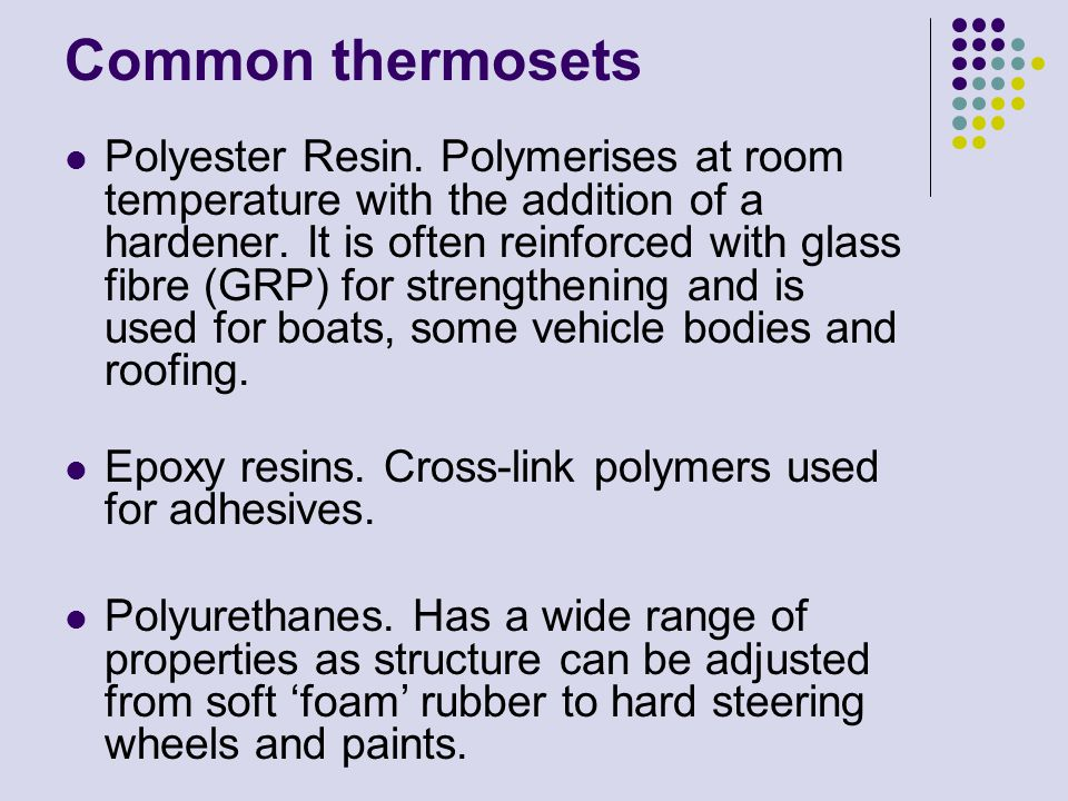 Common thermosets