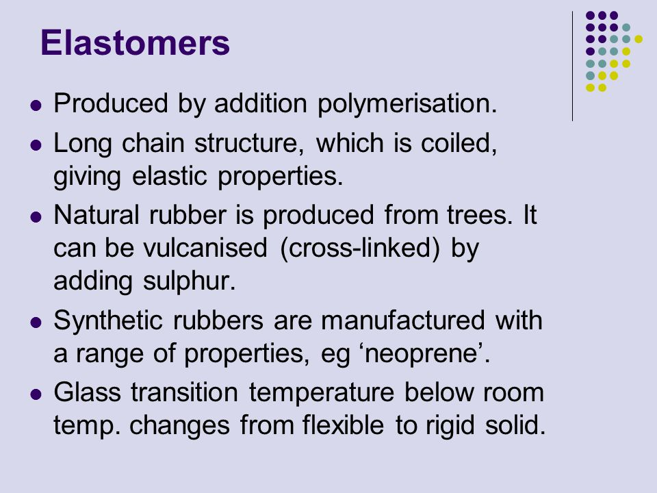 Elastomers Produced by addition polymerisation.