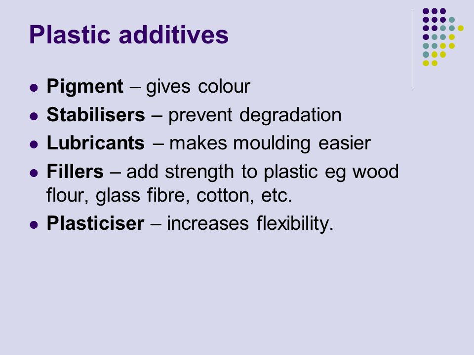 Plastic additives Pigment – gives colour