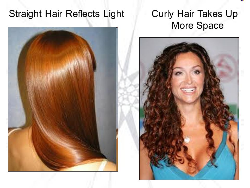 Straight Hair Reflects Light Curly Hair Takes Up