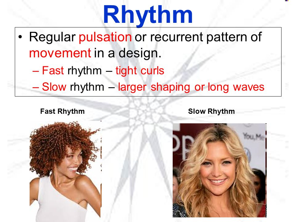 Rhythm Regular pulsation or recurrent pattern of movement in a design.