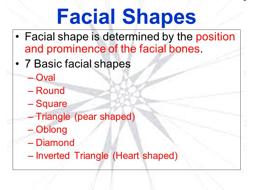 Facial Shapes Facial shape is determined by the position and prominence of the facial bones. 7 Basic facial shapes.