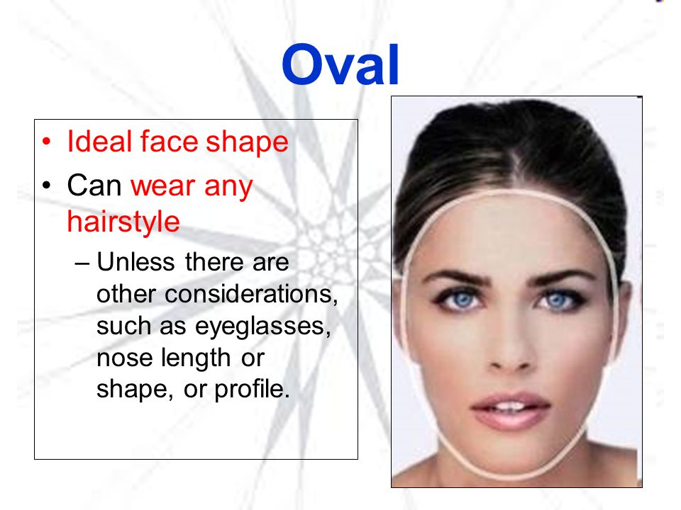Oval Ideal face shape Can wear any hairstyle