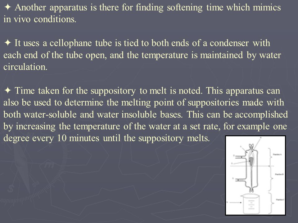  Another apparatus is there for finding softening time which mimics in vivo conditions.