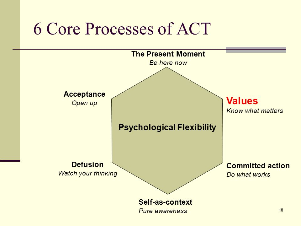 6 Core Processes of ACT Values Psychological Flexibility