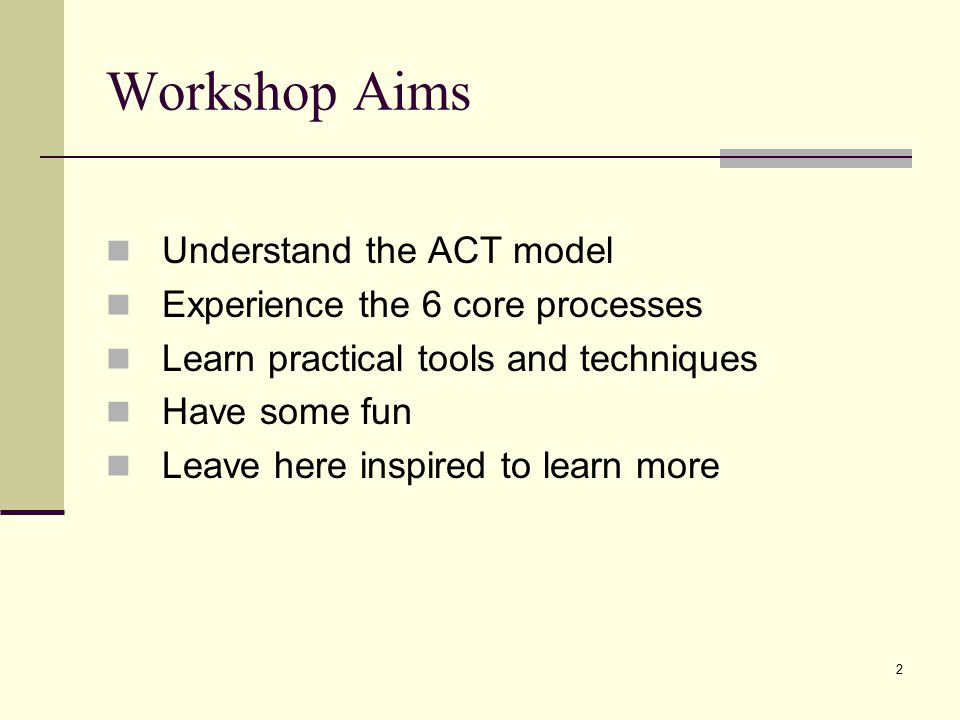 Workshop Aims Understand the ACT model Experience the 6 core processes
