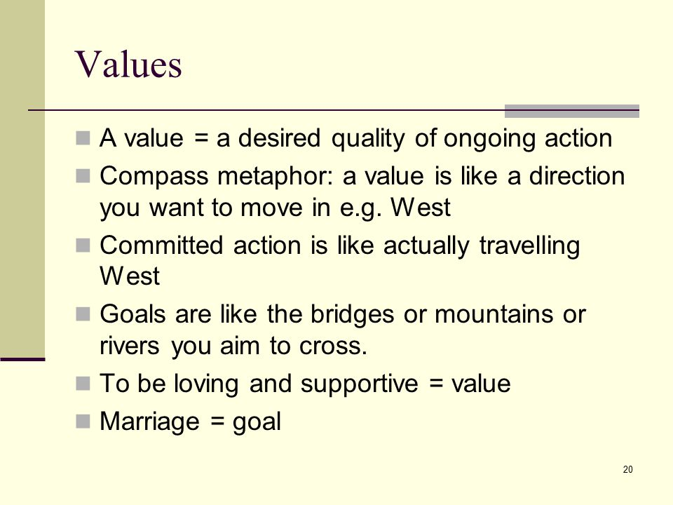Values A value = a desired quality of ongoing action