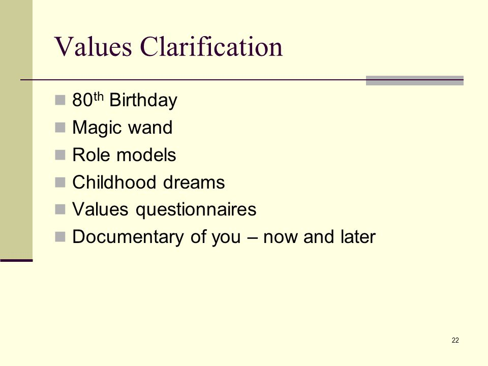 Values Clarification 80th Birthday Magic wand Role models