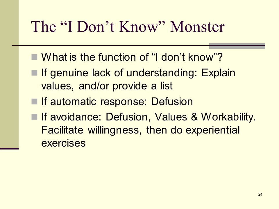 The I Don't Know Monster