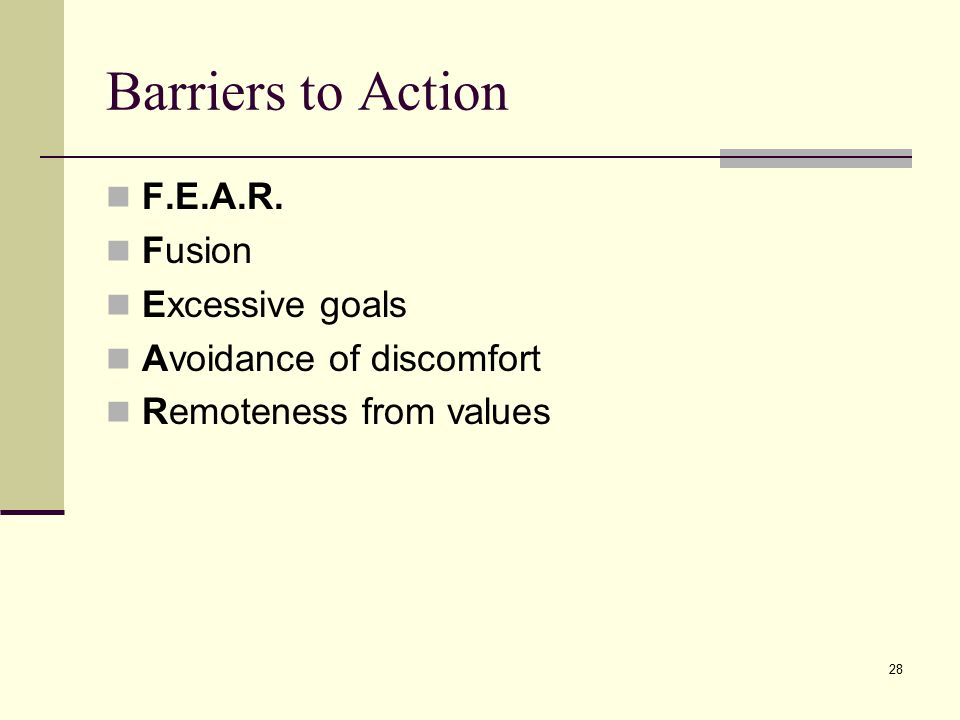Barriers to Action F.E.A.R. Fusion Excessive goals