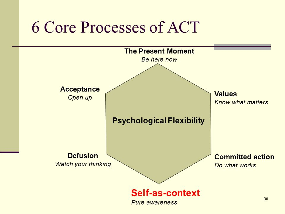 6 Core Processes of ACT Self-as-context Psychological Flexibility