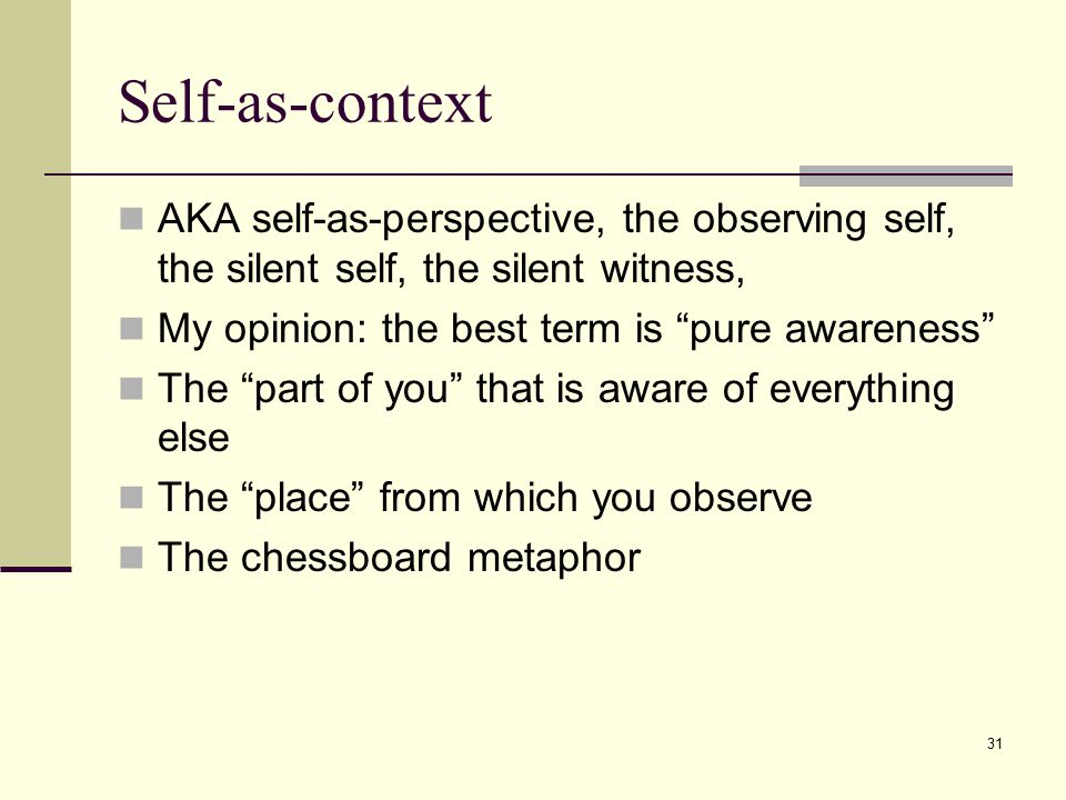 Self-as-context AKA self-as-perspective, the observing self, the silent self, the silent witness, My opinion: the best term is pure awareness