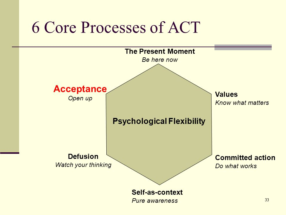 6 Core Processes of ACT Acceptance Psychological Flexibility