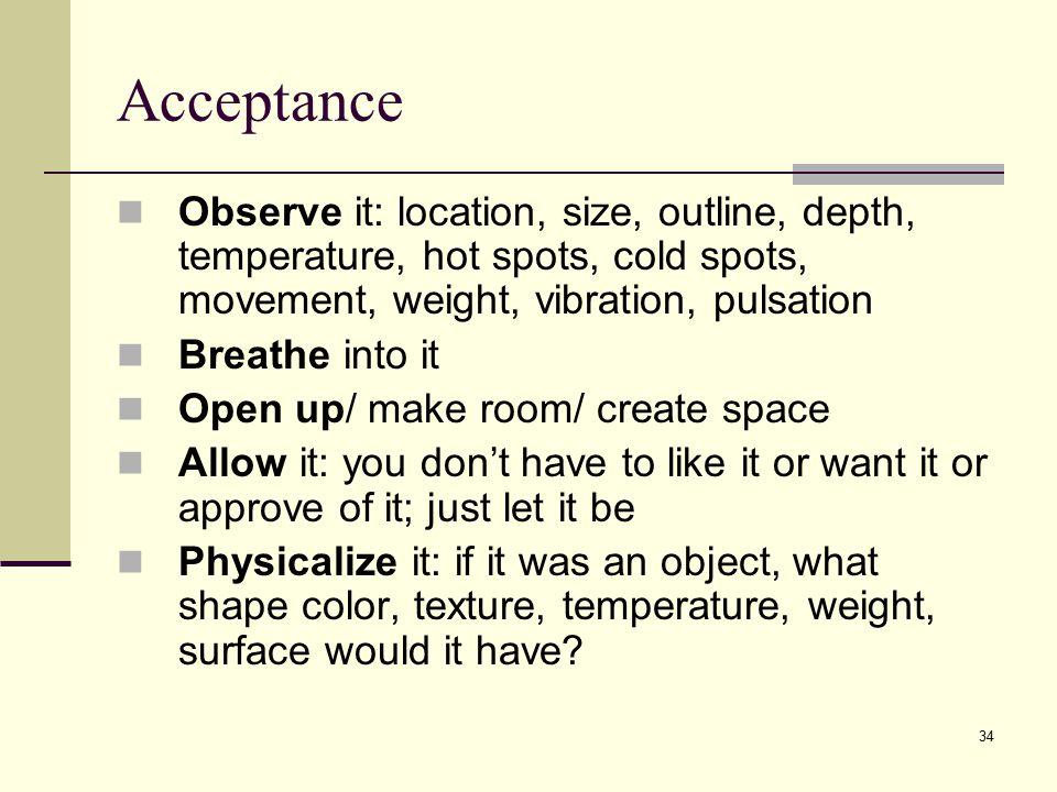 Acceptance Observe it: location, size, outline, depth, temperature, hot spots, cold spots, movement, weight, vibration, pulsation.