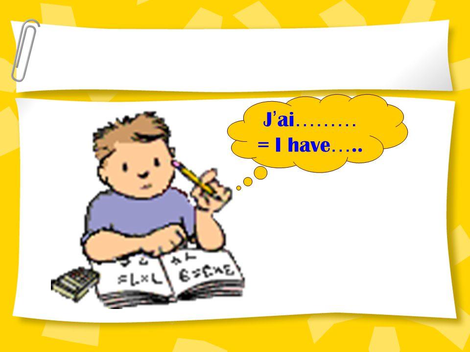 J'ai……… = I have…..