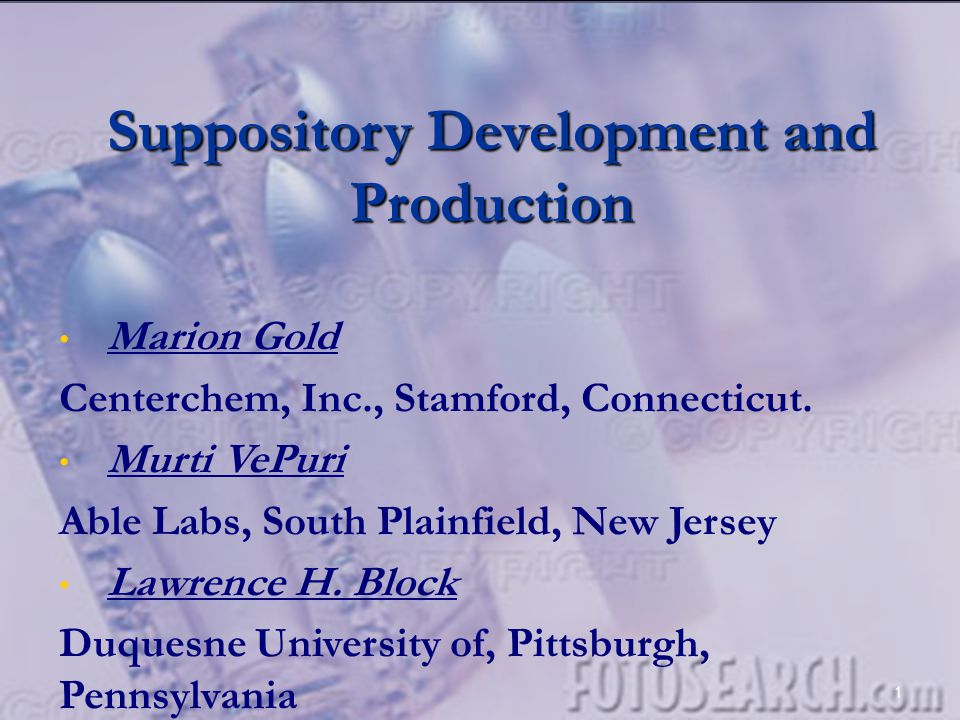 Suppository Development and Production