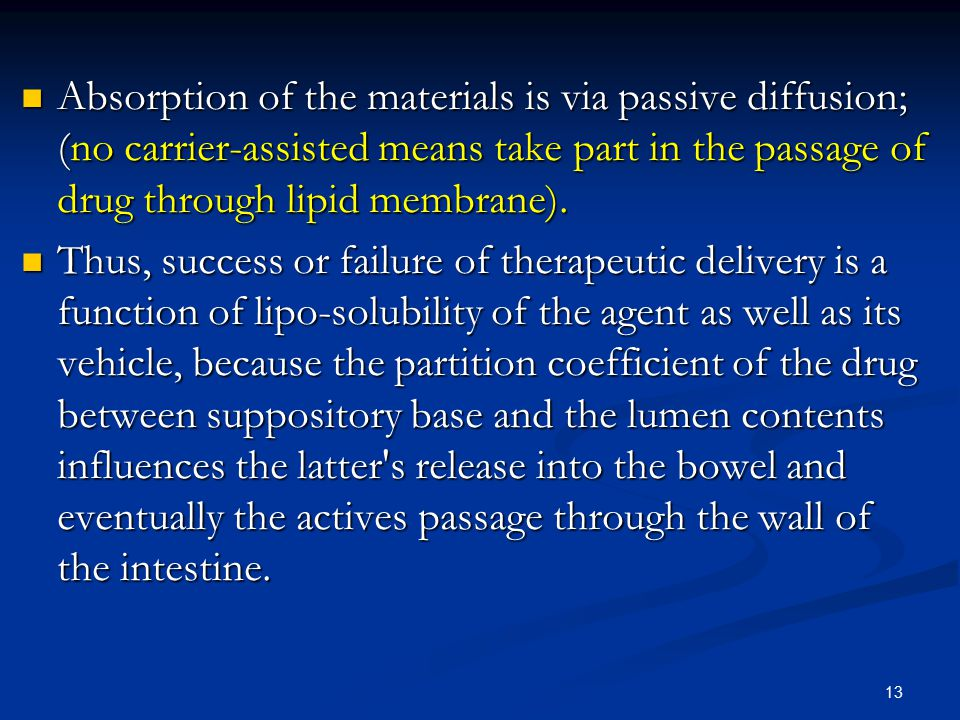 Absorption of the materials is via passive diffusion; (no carrier-assisted means take part in the passage of drug through lipid membrane).