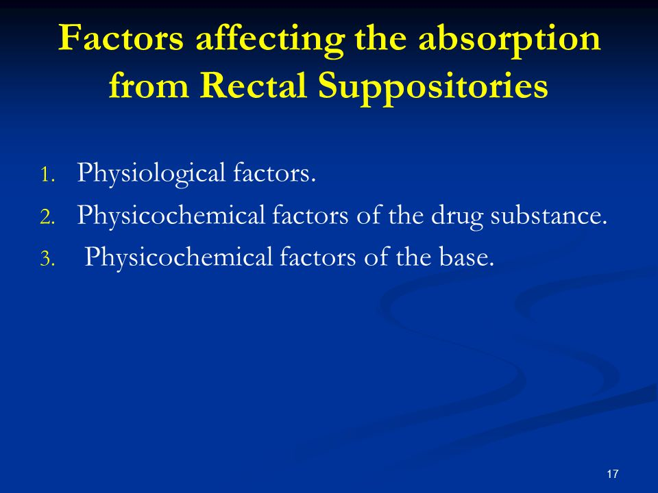 Factors affecting the absorption from Rectal Suppositories