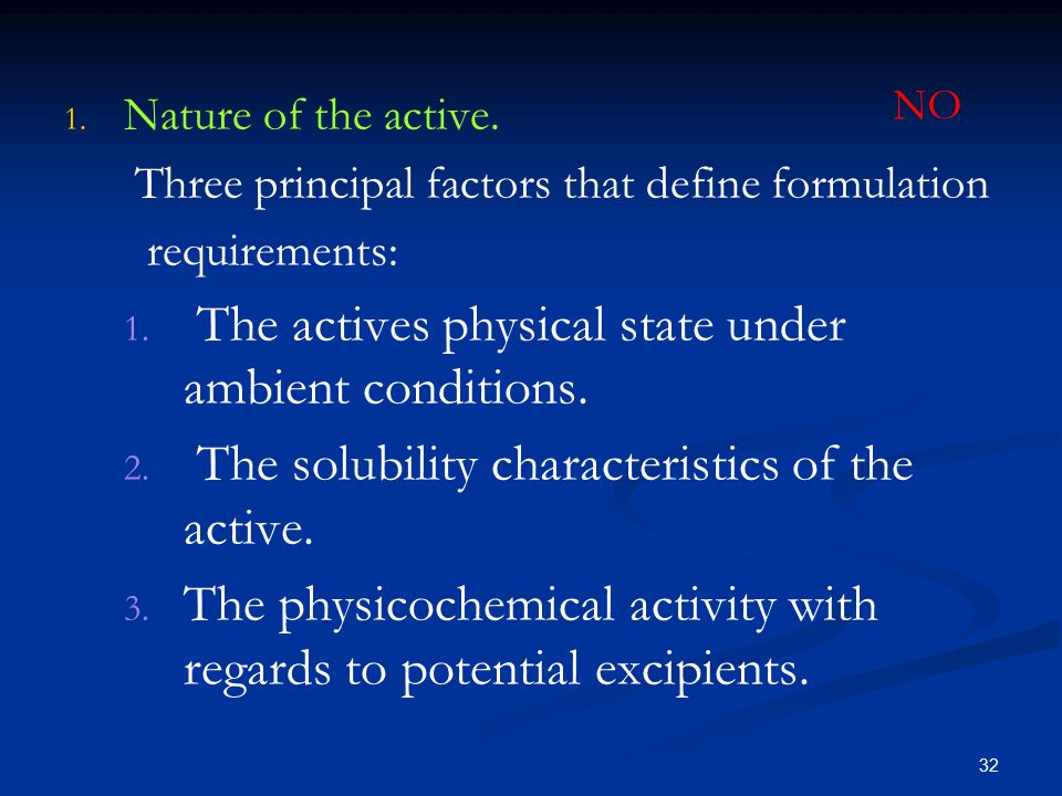The actives physical state under ambient conditions.