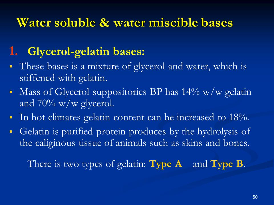 Water soluble & water miscible bases