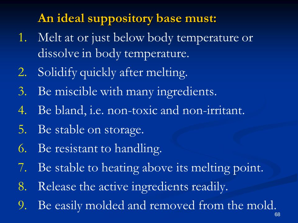 An ideal suppository base must:
