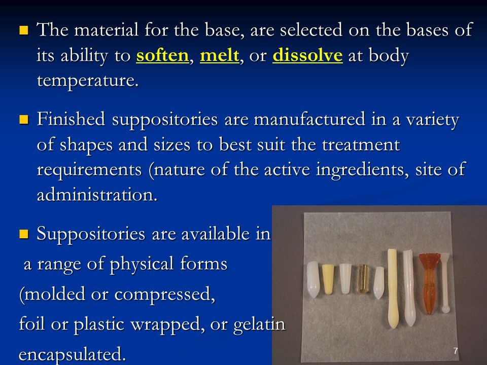 Suppositories are available in a range of physical forms