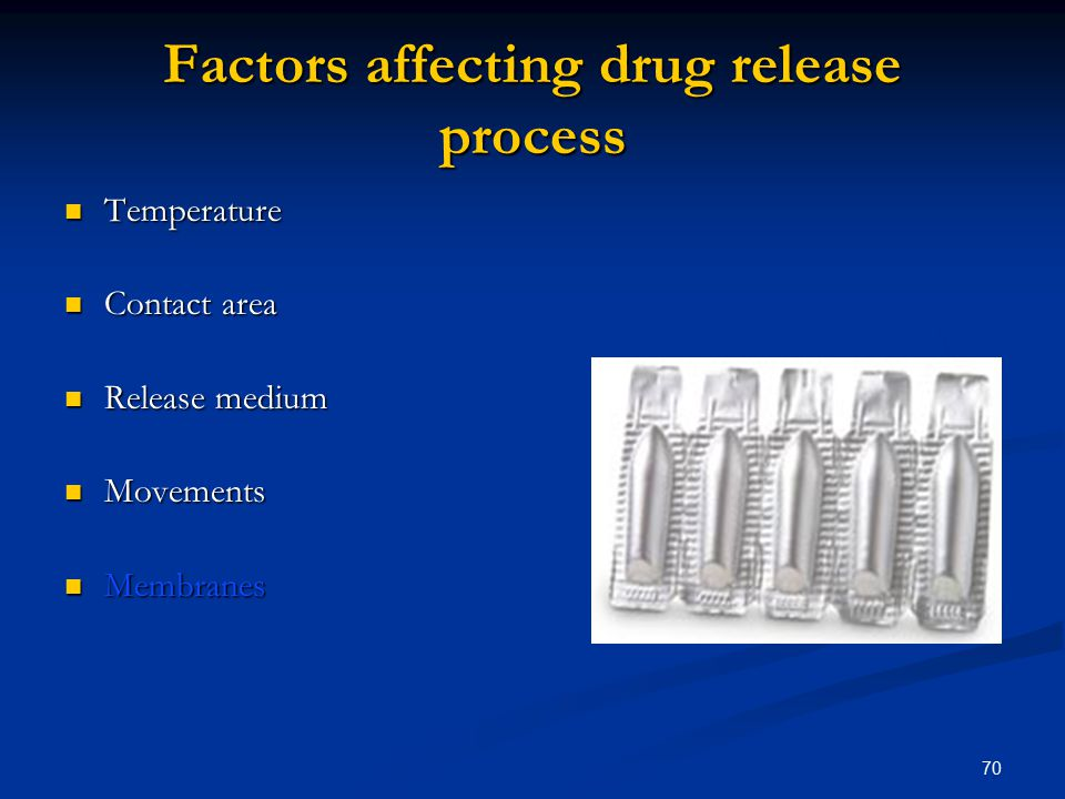 Factors affecting drug release process