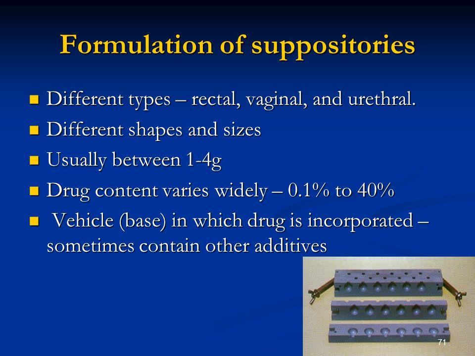 Formulation of suppositories