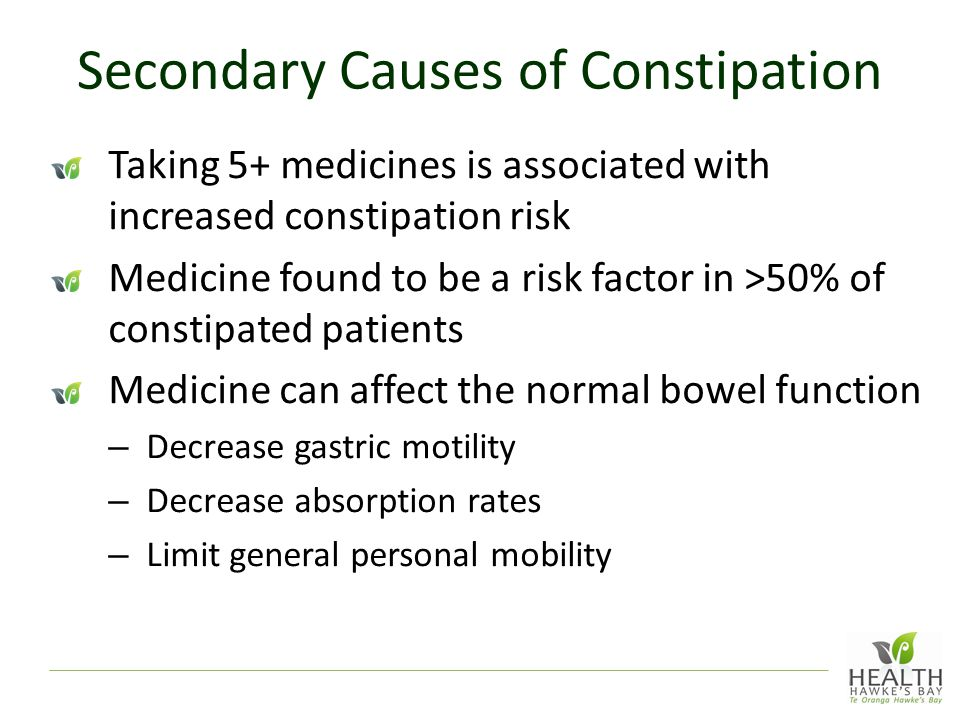 Secondary Causes of Constipation