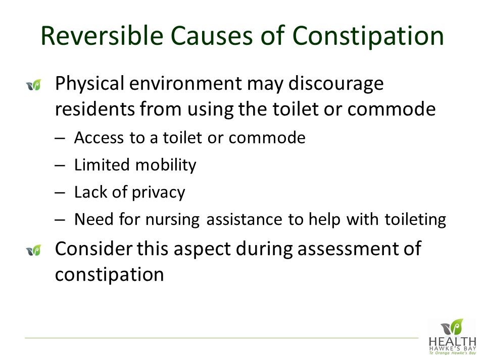 Reversible Causes of Constipation