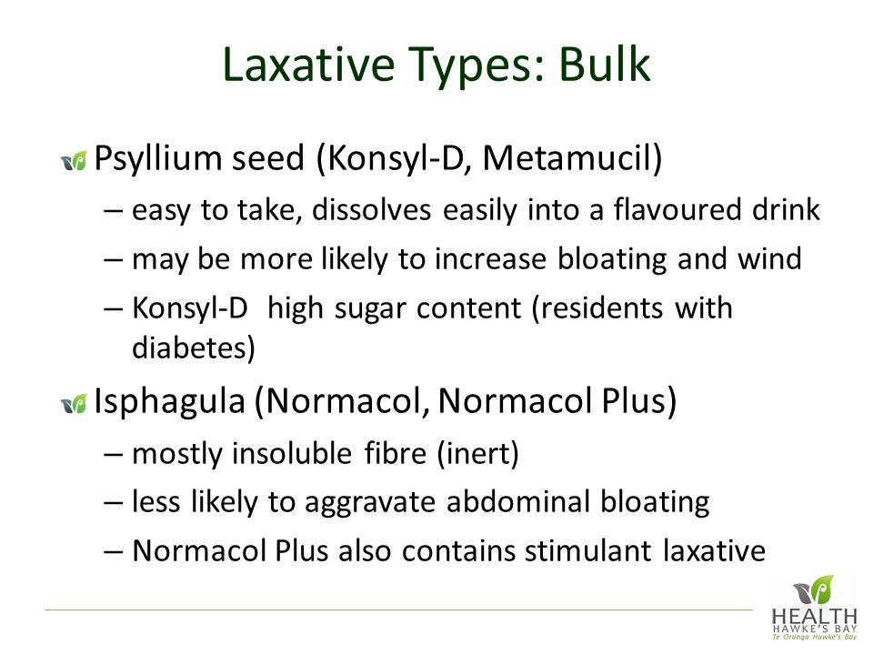 Laxative Types: Bulk Psyllium seed (Konsyl-D, Metamucil)