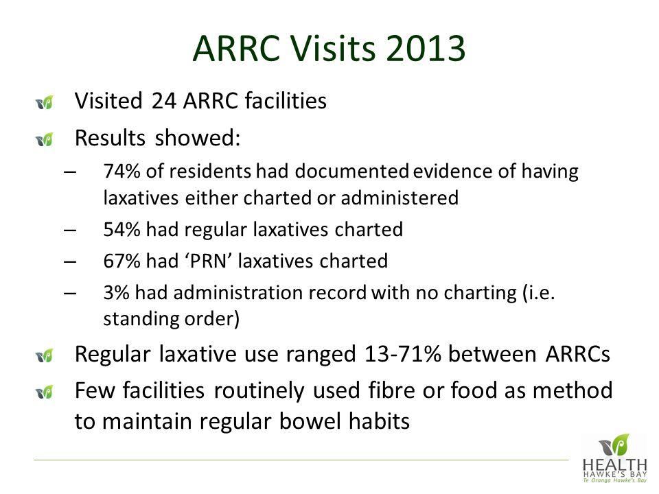 ARRC Visits 2013 Visited 24 ARRC facilities Results showed:
