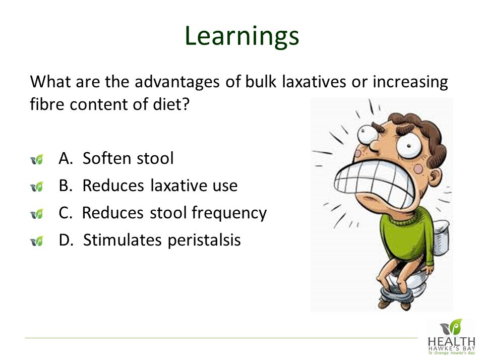 Learnings What are the advantages of bulk laxatives or increasing fibre content of diet A. Soften stool.