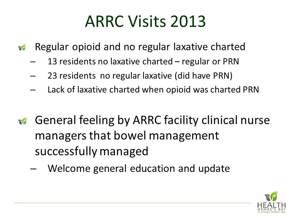 ARRC Visits 2013 Regular opioid and no regular laxative charted. 13 residents no laxative charted – regular or PRN.