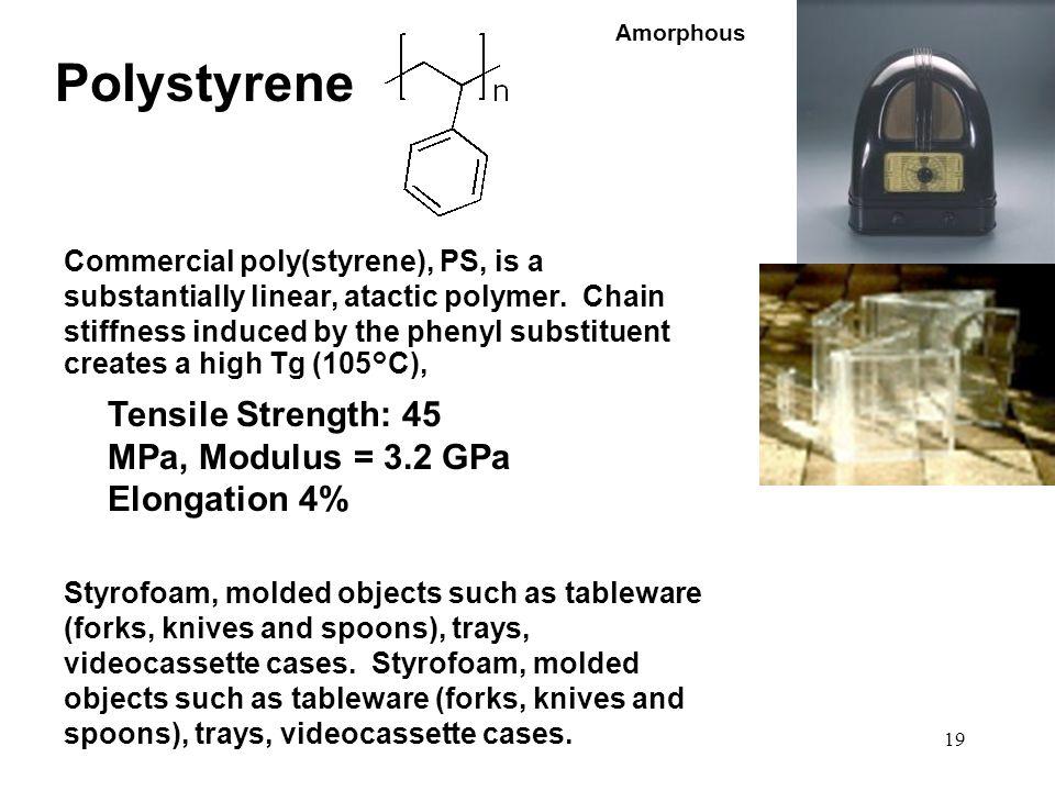 Polystyrene Tensile Strength: 45 MPa, Modulus = 3.2 GPa Elongation 4%