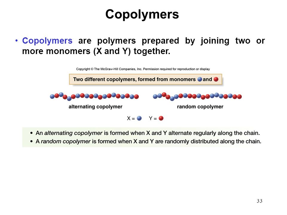 Copolymers Copolymers are polymers prepared by joining two or more monomers (X and Y) together.