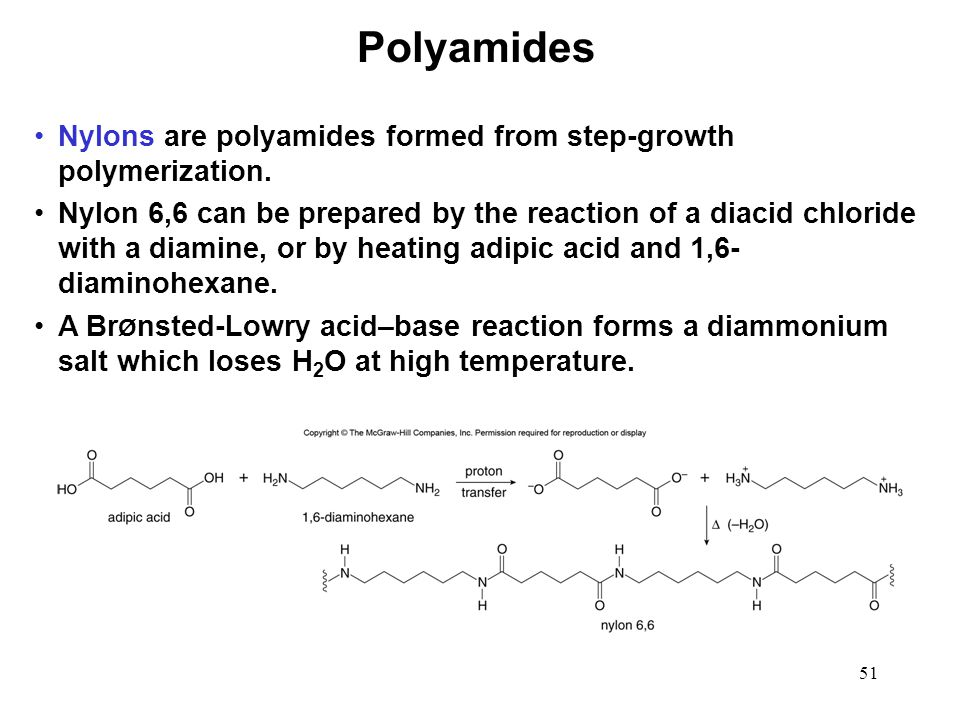 Polyamides Nylons are polyamides formed from step-growth polymerization.