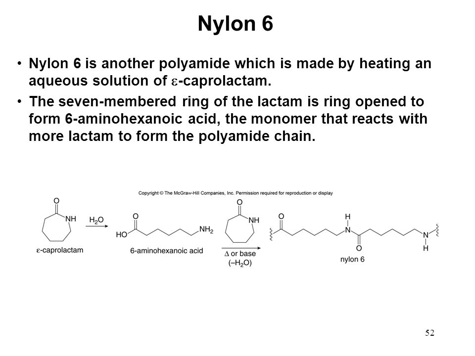 Nylon 6 Nylon 6 is another polyamide which is made by heating an aqueous solution of -caprolactam.