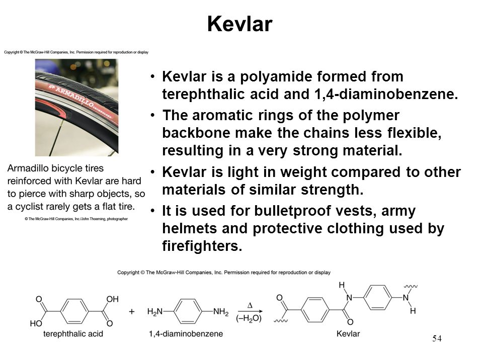 Kevlar Kevlar is a polyamide formed from terephthalic acid and 1,4-diaminobenzene.