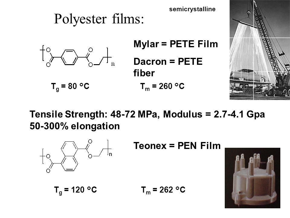 Polyester films: Mylar = PETE Film Dacron = PETE fiber